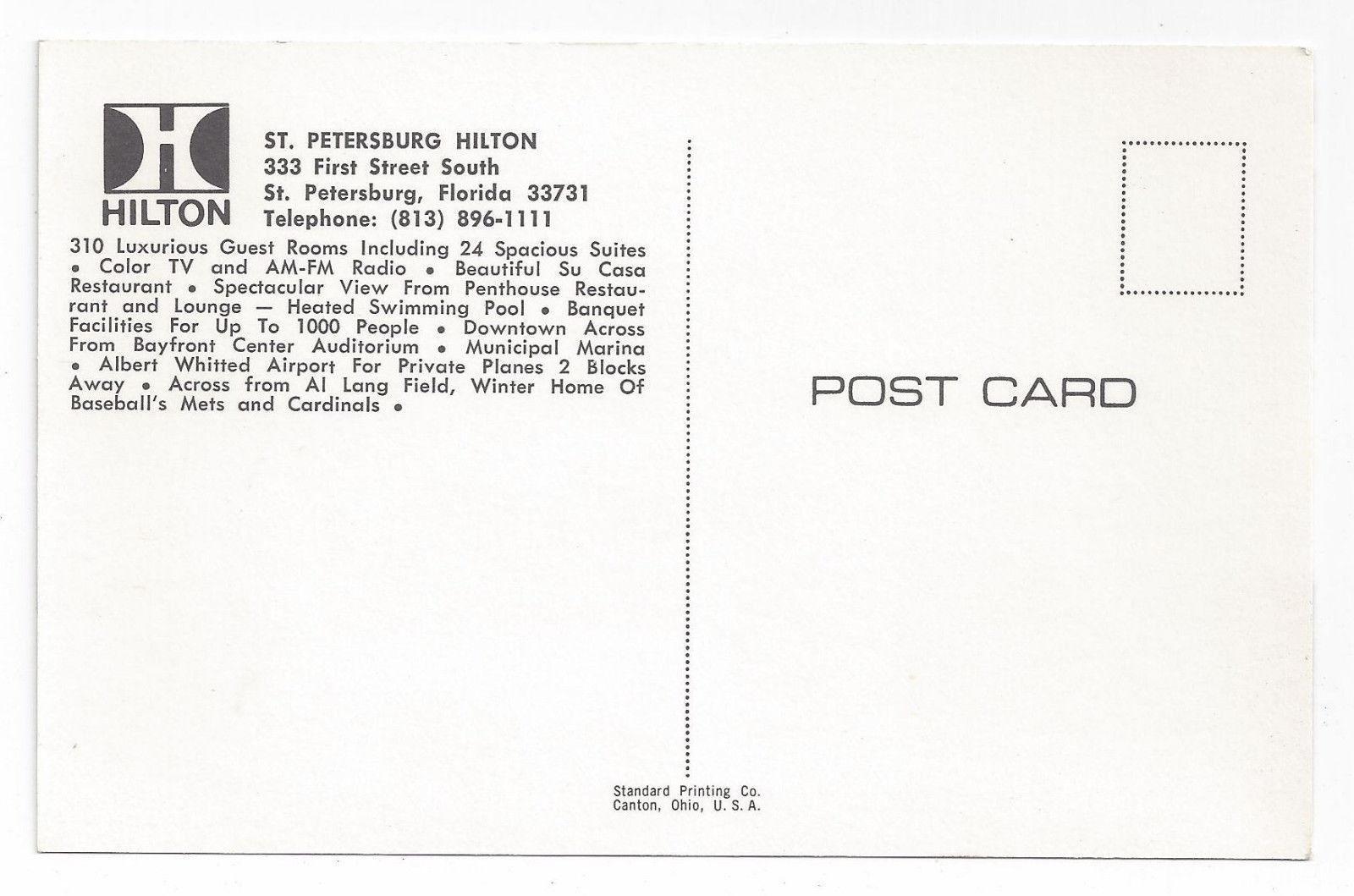 FL St Petersburg Hilton Hotel Marina Boats Vintage Postcard