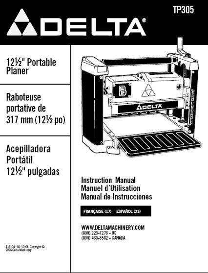 Delta Planer TP305 Instruction Manual