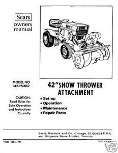 "Primary image for Craftsman 42"" Snow Thrower Attach. Manual # 842.260052"