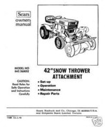 "Craftsman 42"" Snow Thrower Attach. Manual # 842.260052 - $10.88"