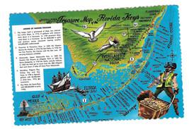 Florida Keys Treasure Map Pirate Vtg Postcard 4X6 - $5.69