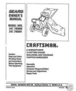 Craftsman  Chipper Shredder  Manual Model # 247.795860 - $10.88
