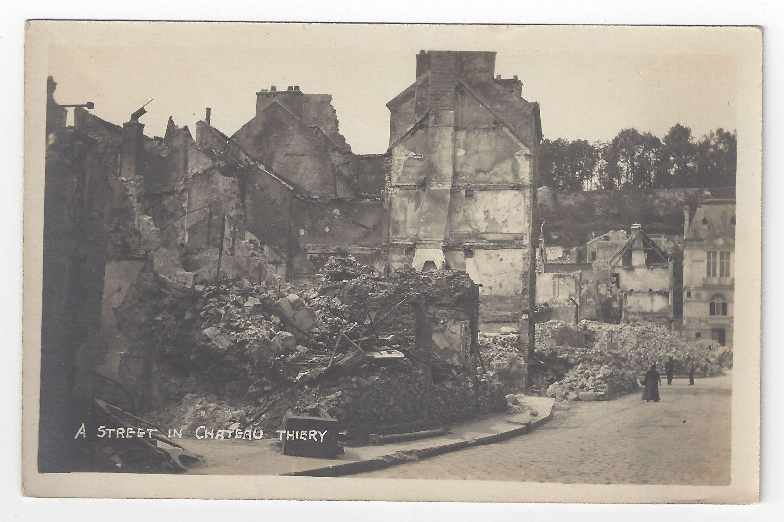 France Chateau Thierry Street WWI War Ruins Guerre Real Photo Post Card RPPC