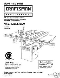 Primary image for Sears Craftsman  Table Saw Manual Model # 152.221240