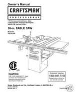 Sears Craftsman  Table Saw Manual Model # 152.221240 - $10.88
