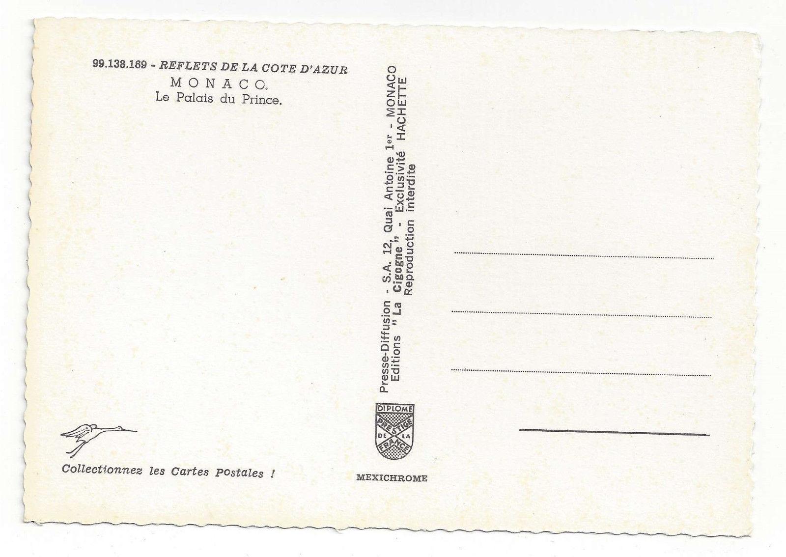 France Monaco Palace Palais du Prince Cote D'Azur Riviera Vtg Postcard 4X6