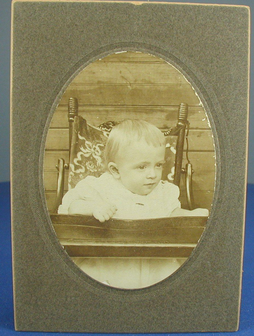 Vintage Photo Baby Pretty Child High Chair Antique