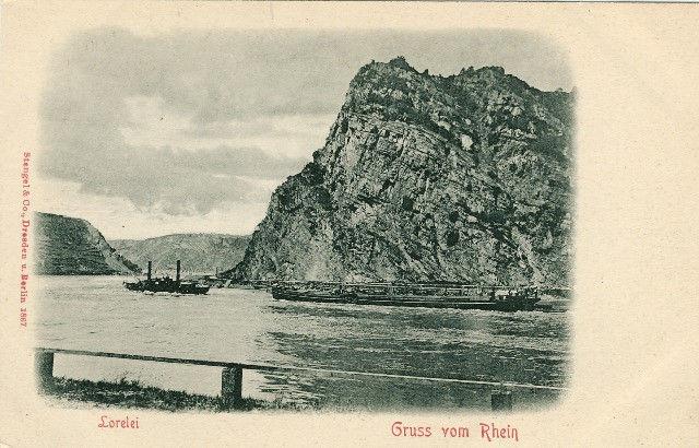 Germany Lorelei Gruss vom Rhein River Barge Steamer Vtg Stengel UND Postcard