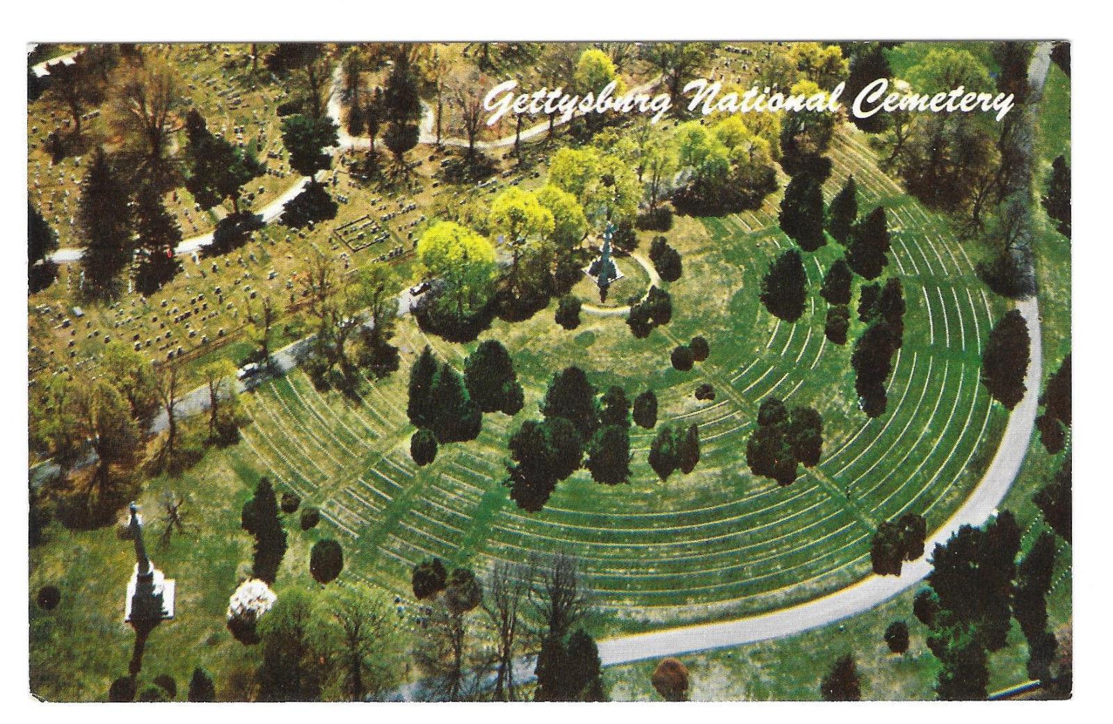 Gettysburg Civil War National Cemetery Aerial View Vtg L.E. Smith Postcard PA