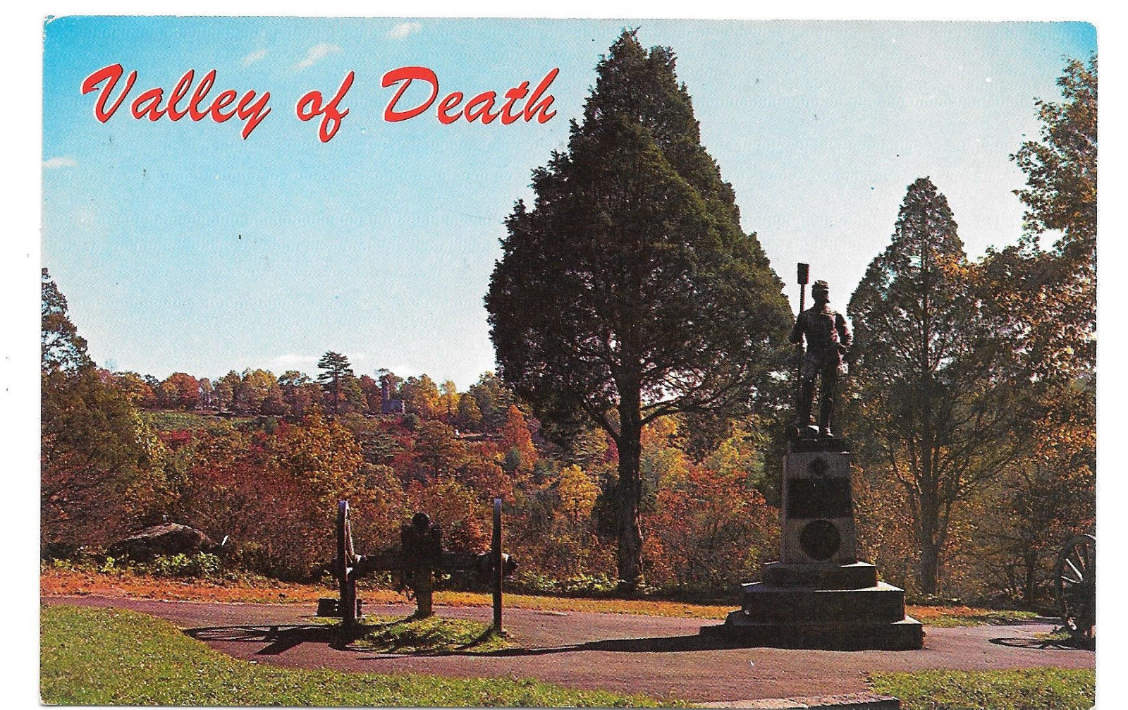 Gettysburg Civil War Valley of Death Battlefield Vtg L.E. Smith Postcard PA