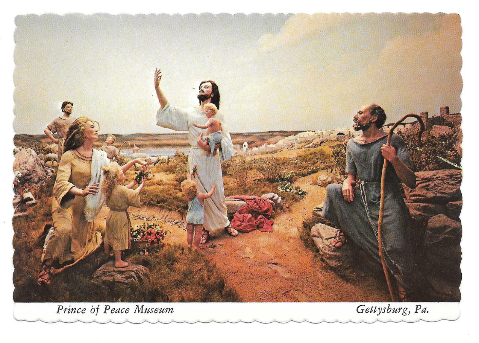 Gettysburg PA Prince of Peace Museum Christ and the Children Vtg Postcard 4X6