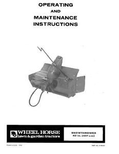 "Wheel Horse 42"" Snowthrower Attach op Manual  06-42ST04"