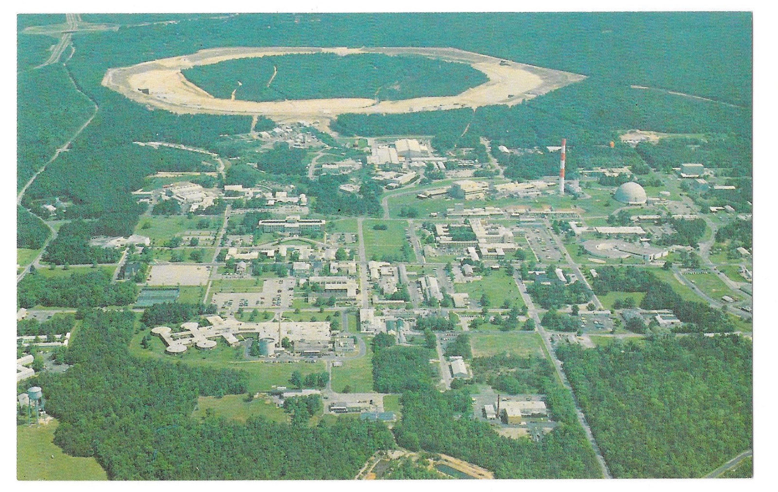 NY Upton Brookhaven National Laboratory Research Aerial View Vtg Postcard
