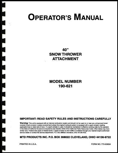 """Cub Cadet 40"""" Snow Thrower Attachment Owners Manual Model No. 190-621-100"""