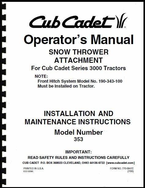 """Cub Cadet 45"""" Snow Thrower Attachment Operators Manual Model No. 190-353-100"""