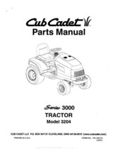 Cub Cadet 3000 Series Lawn Tractor Parts Manual Model No. 3204 - $10.88
