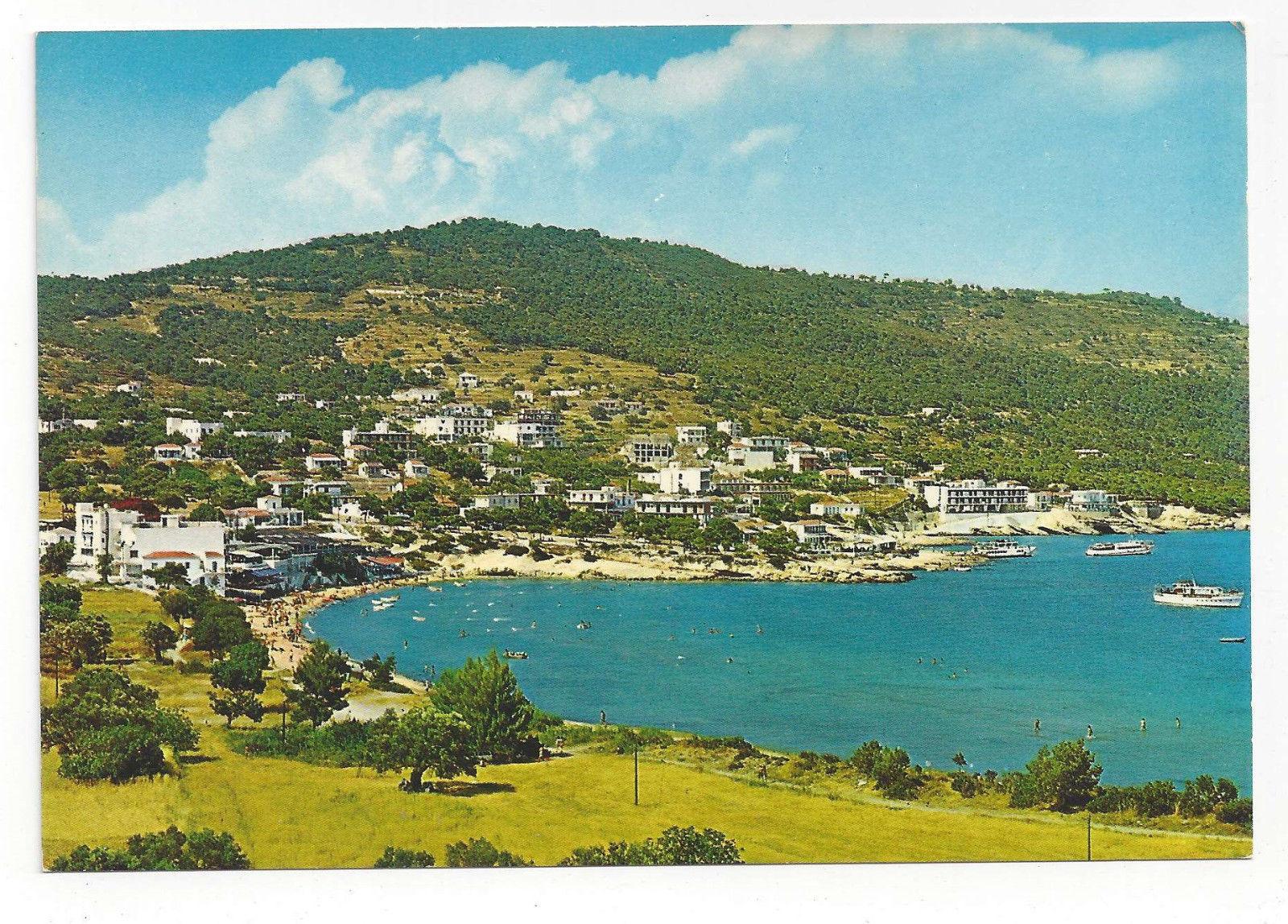 Greece Aegina Egina Agia Saint Marina Aerial View Beach Vtg Postcard 4X6