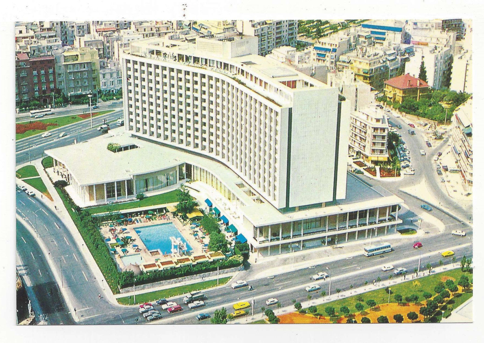 Greece Athens Hilton Hotel Aerial View Vtg Continental Postcard