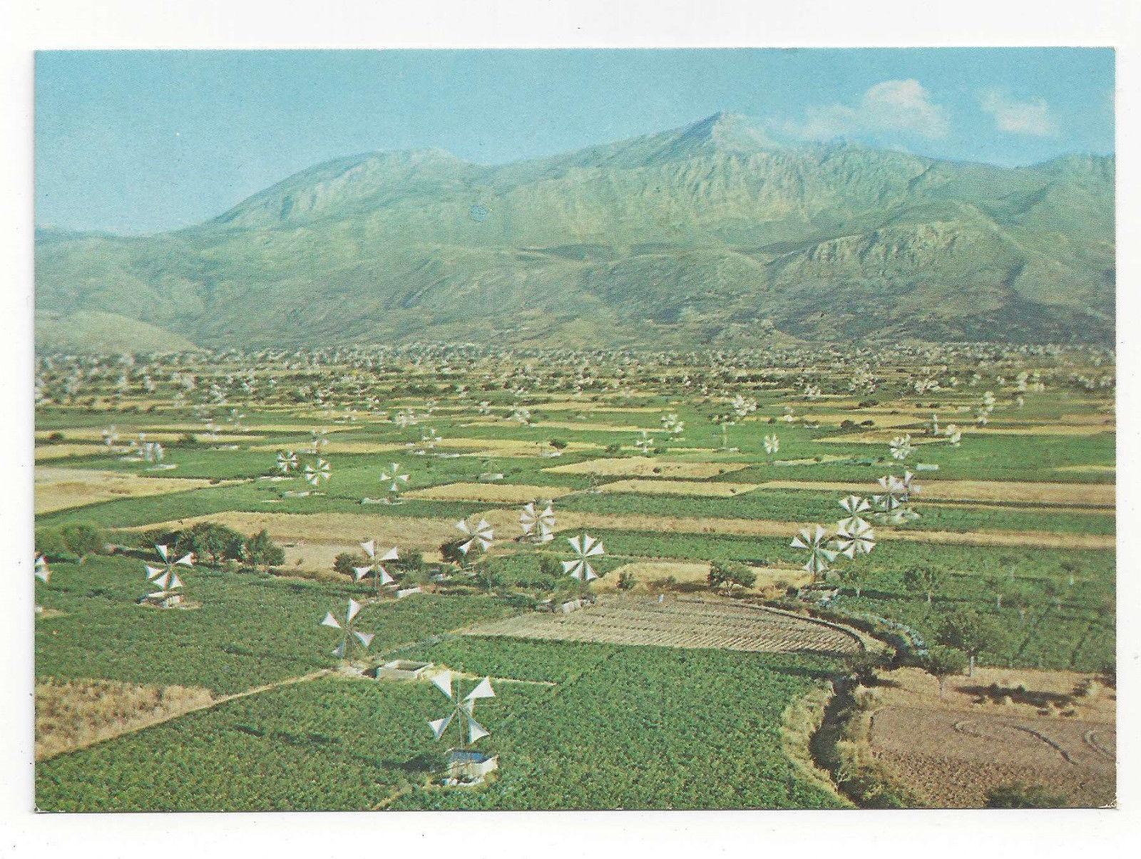 Greece Crete Lassithi Plateau Irrigation Windmills Aerial View Vtg Postcard 4X6