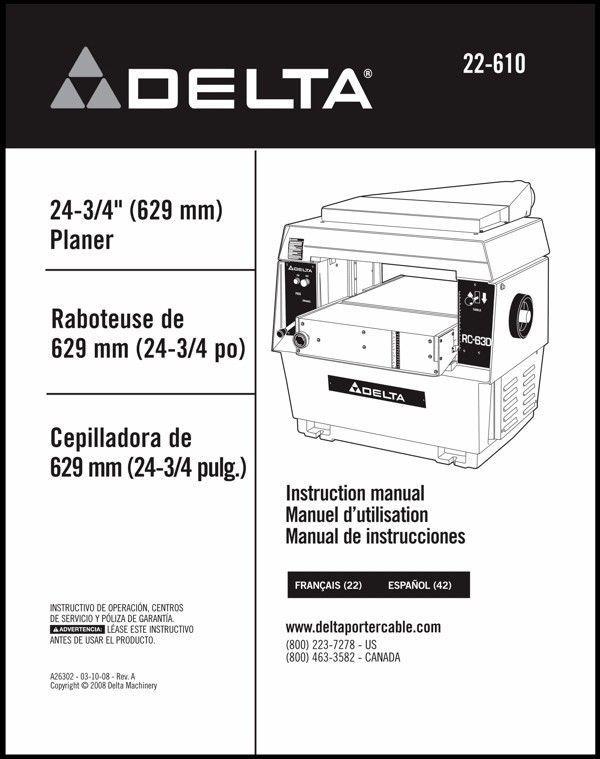 Delta Planer 22-610 Instruction Manual