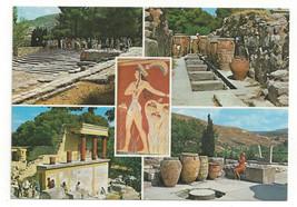Greece Crete Knossos Multiview Palace Vtg Chrome Postcard Continental 4X6 - $6.36