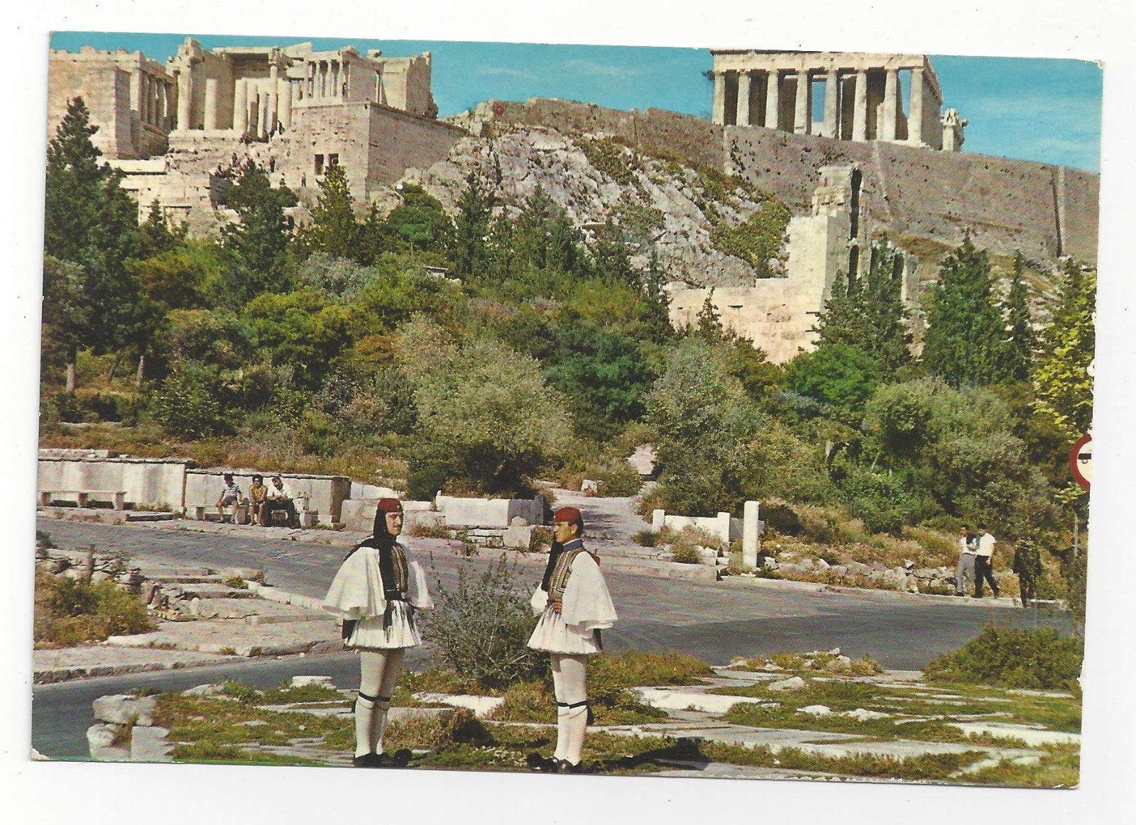 Greece Athens Royal Guards Evzone Acropolis Uniform Vintage Postcard 4X6