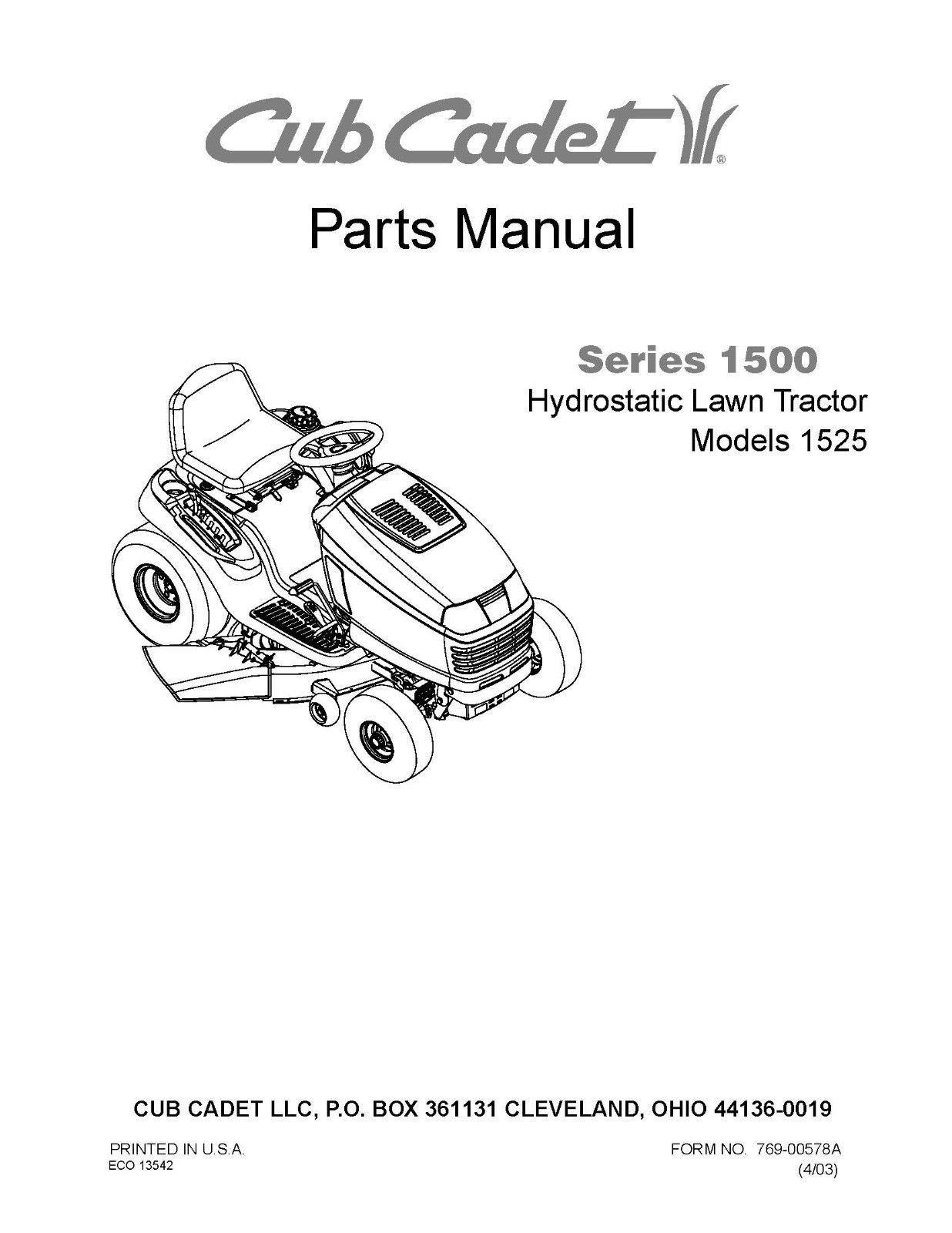 Cub Cadet 1500 Series Hydrostatic Lawn Tractor Parts Manual Model No. 1525