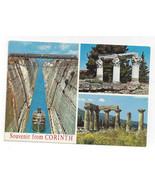 Greece Corinth Multiview Canal Ancient Ruins Columns Vtg Postcard 4X6 - $6.36