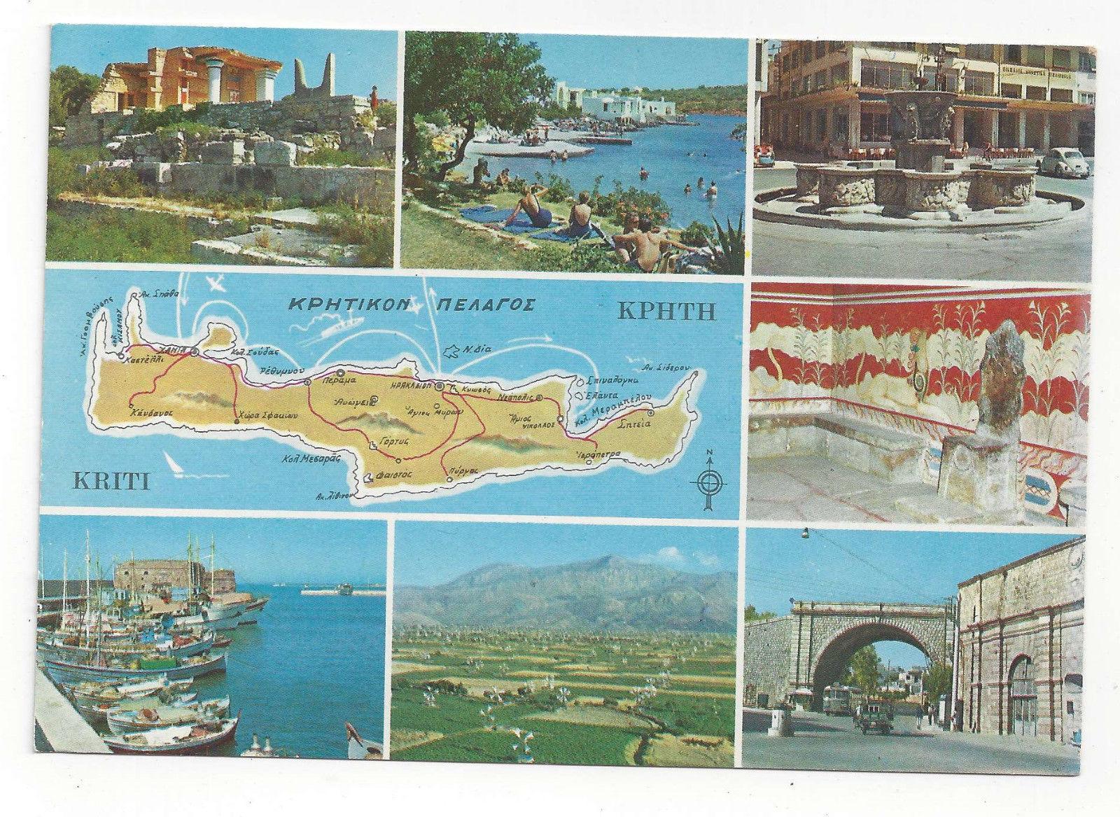 Greece Crete Multiview 7 Views w Map Vtg Postcard 4X6