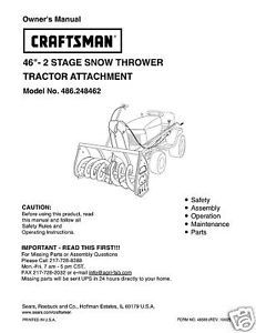 "Primary image for Craftsman 46"" Snow Thrower Attach. Manual # 486.248462"