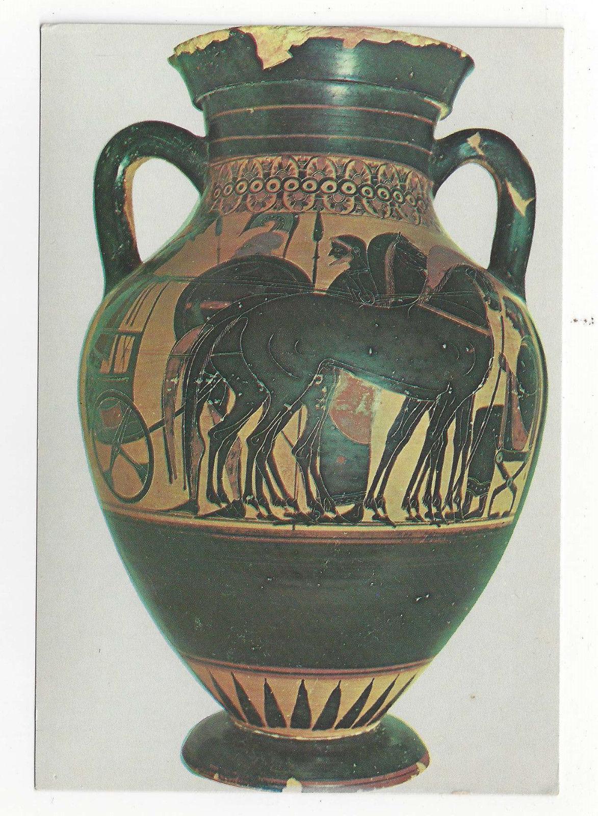 Greece Rhodes Museum Figure Black Attic Amphora Vtg Postcard 4X6