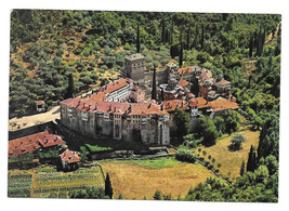 Greece Mt. Athos Monastery of Hilandari Aerial View Vtg Postcard - $5.69