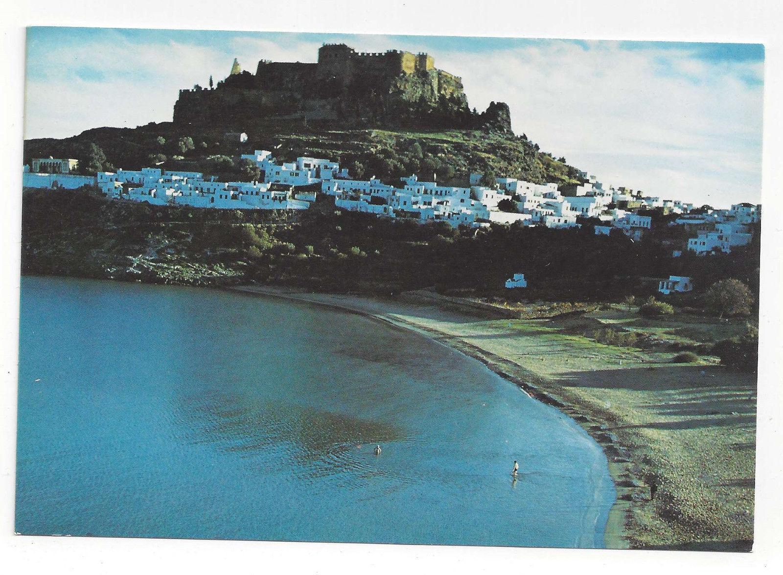 Greece Rhodes Rodos Lindos Acropolis Beach La Playa Aerial View Vtg Postcard 4X6