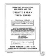 Craftsman  DRILL PRESS Manual Model 103.24821 - $7.91