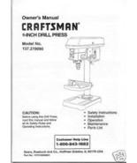 "Craftsman 9 "" DRILL PRESS Manual Model 137.219090 - $10.88"