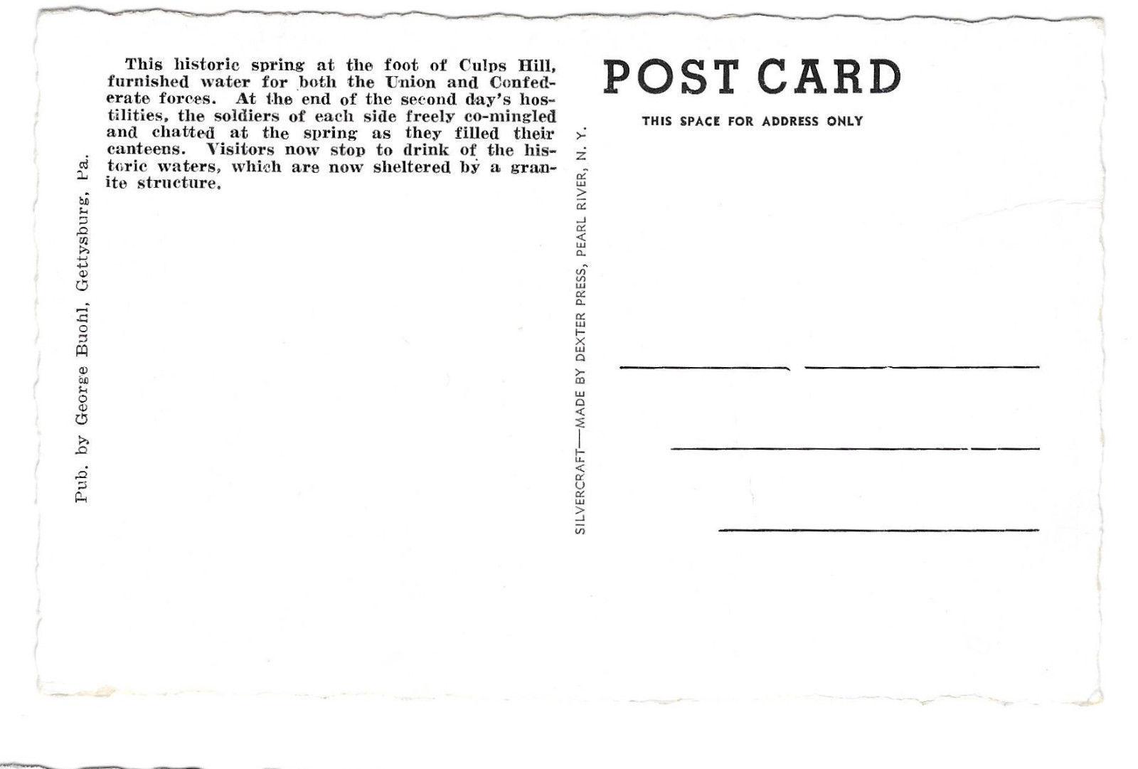 Gettysburg PA Spangler Spring Civil War Battle Culps Hill Vtg Buohl Postcard