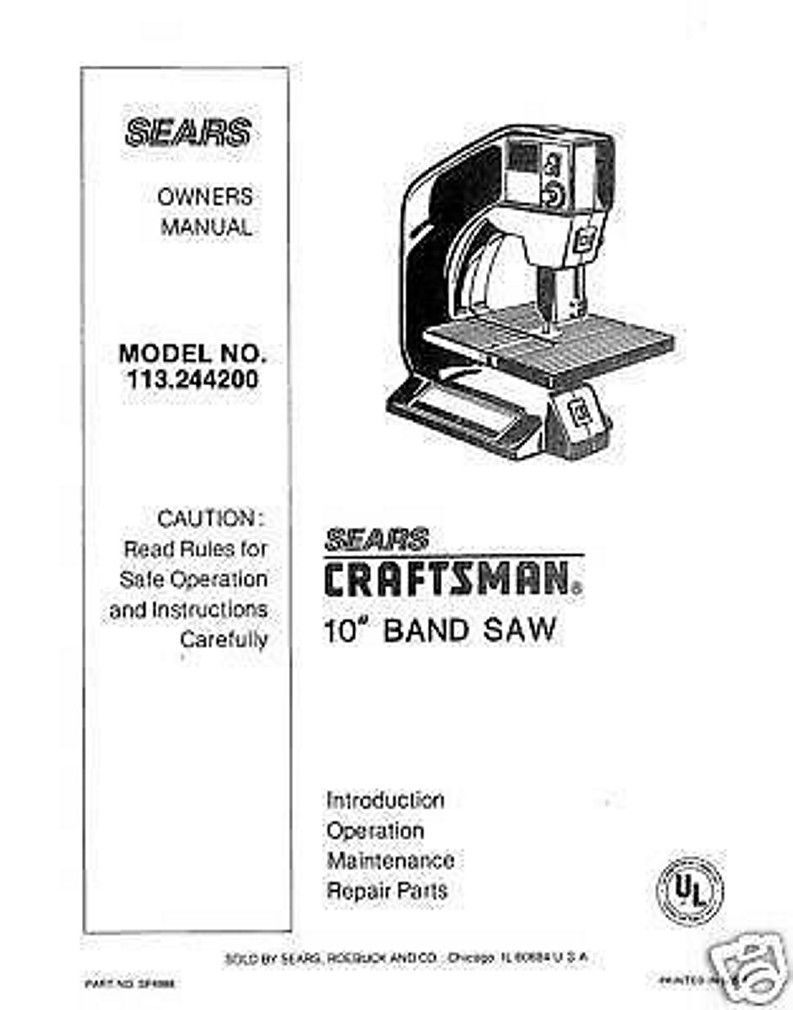 "Craftsman  10 "" Operators Manual 113.244200"