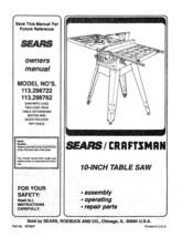 Sears Craftsman  Table Saw Manual Model # 113.298722 - $10.88