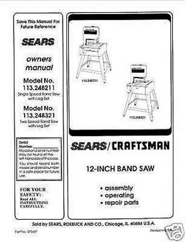 "Craftsman  12 "" Operators Manual 113.248321"