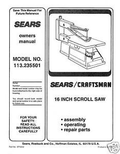 "Primary image for Craftsman 16 "" Scroll Saw Manual Model # 113.235501"