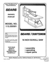 "Craftsman 16 "" Scroll Saw Manual Model # 113.235501 - $10.88"