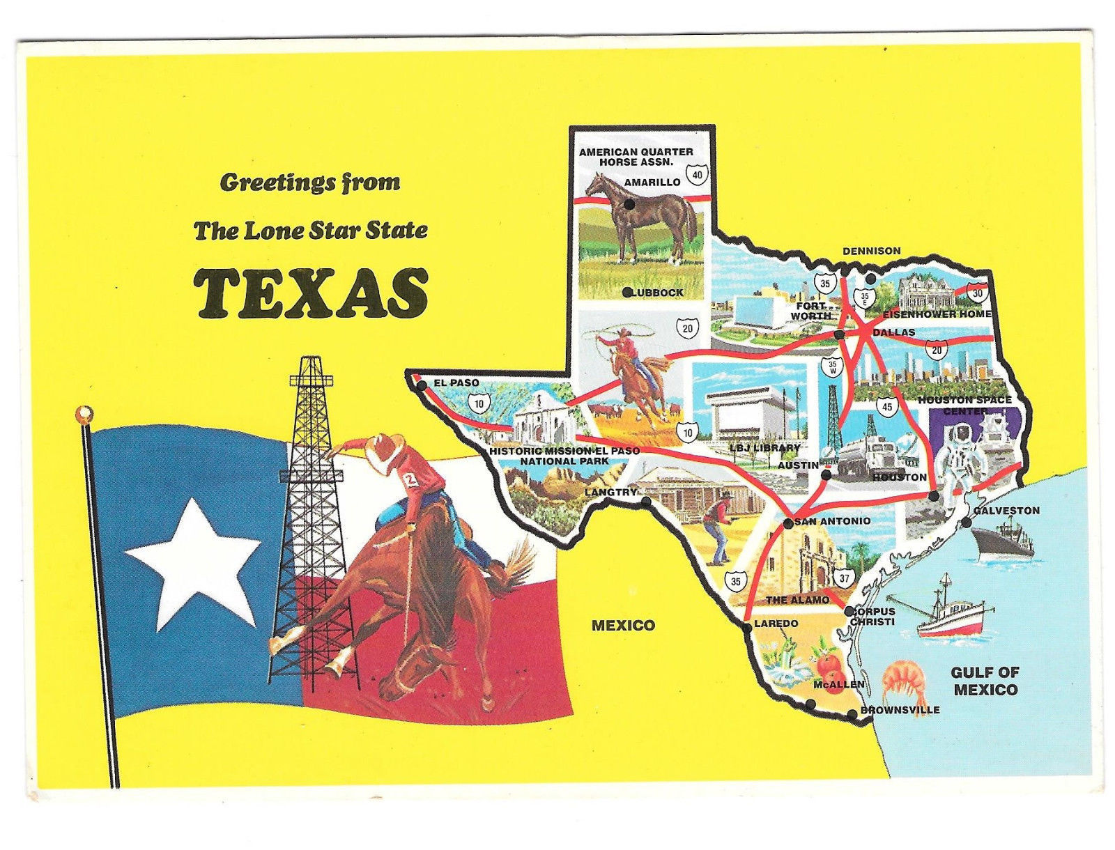 Greetings from Texas Lone Star State Flag Map Multiview Highway Vtg Postcard 4X6