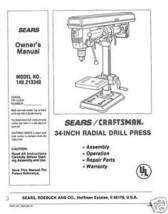 "Craftsman 34 "" DRILL PRESS Manual Model 149.213340 - $10.88"