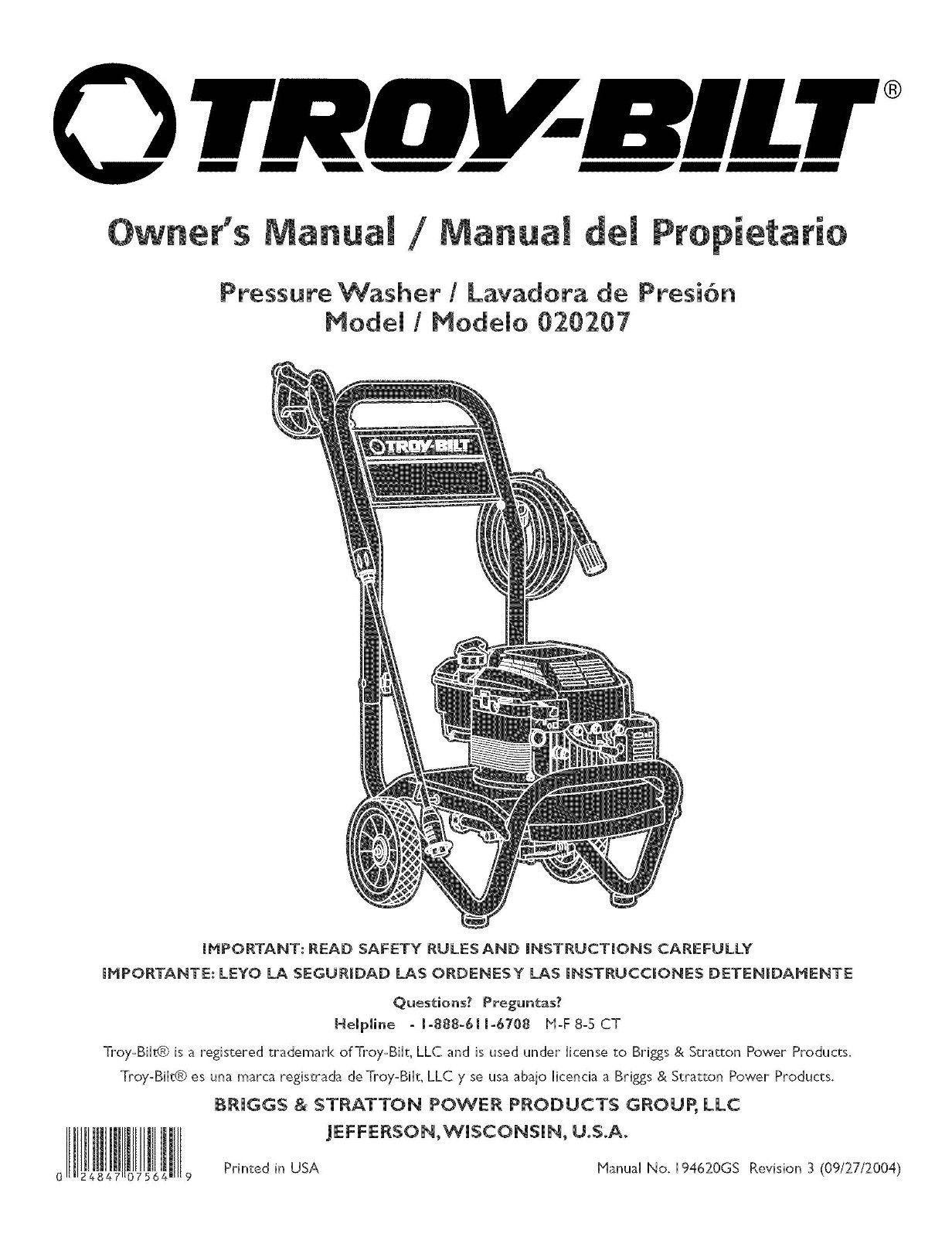 Troy-Bilt  Pressure Washer 2450 psi Model # 020207