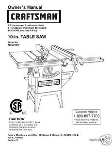 Sears Craftsman  Table Saw Manual Model # 152.221040