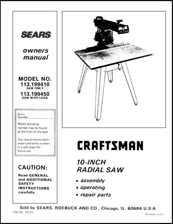 Sears Craftsman  Radial Arm Saw Manual No.113.199410