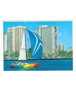 Hawaii Honolulu Yacht Harbor Sailboat Rainbow Tower Hilton Vtg Postcard 4X6 - $6.64