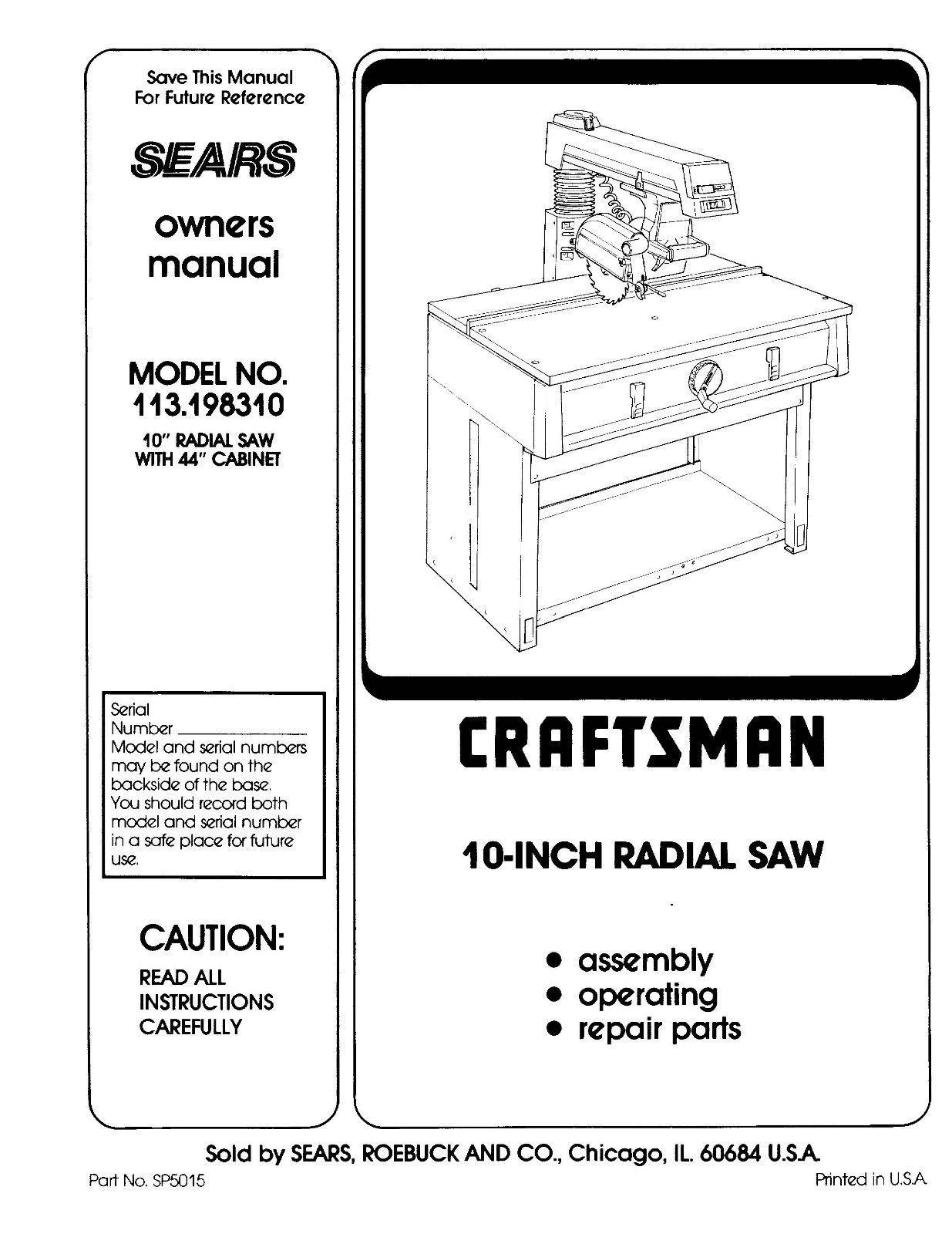 Sears Craftsman  Radial Arm Saw Manual No.113.198310