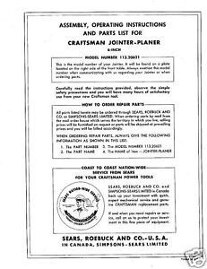 "Craftsman 6"" Jointer Operators Manual No.113.20621"