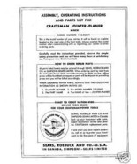 "Craftsman 6"" Jointer Operators Manual No.113.20621 - $10.88"